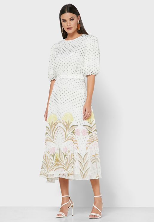 Joulia Puff Sleeve Printed Dress