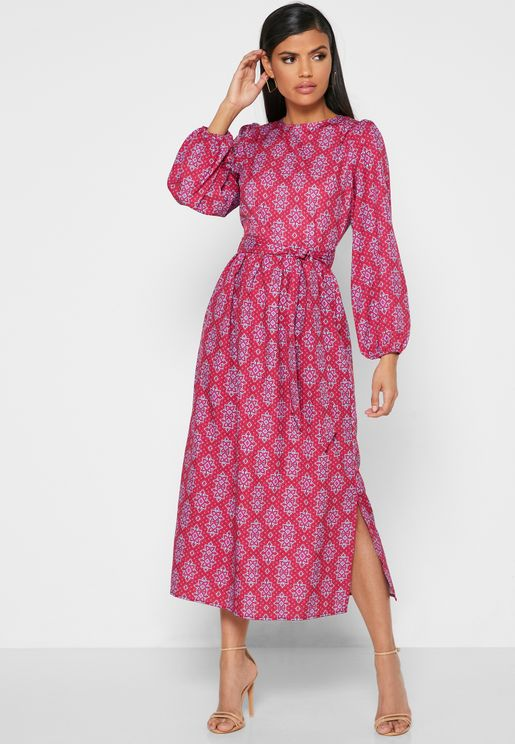 Printed Tie Front Midi Dress