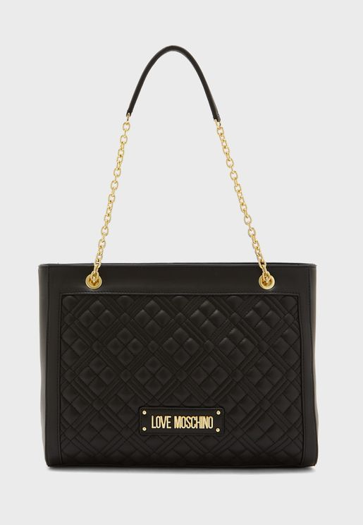 Quilted Chain Detail Tote