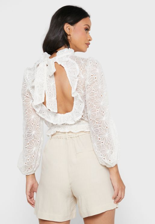 High Neck Open Back Broiderie Top