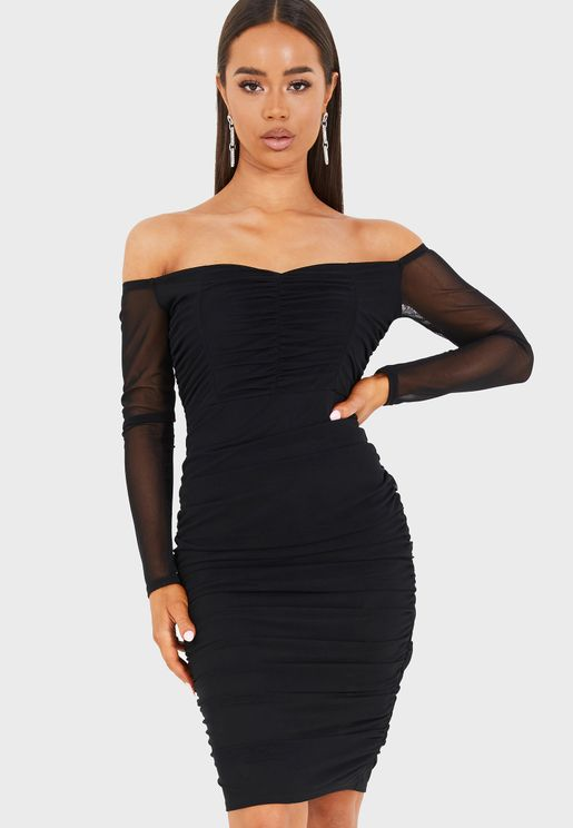 Mesh Bardot Midi Ruched Dress