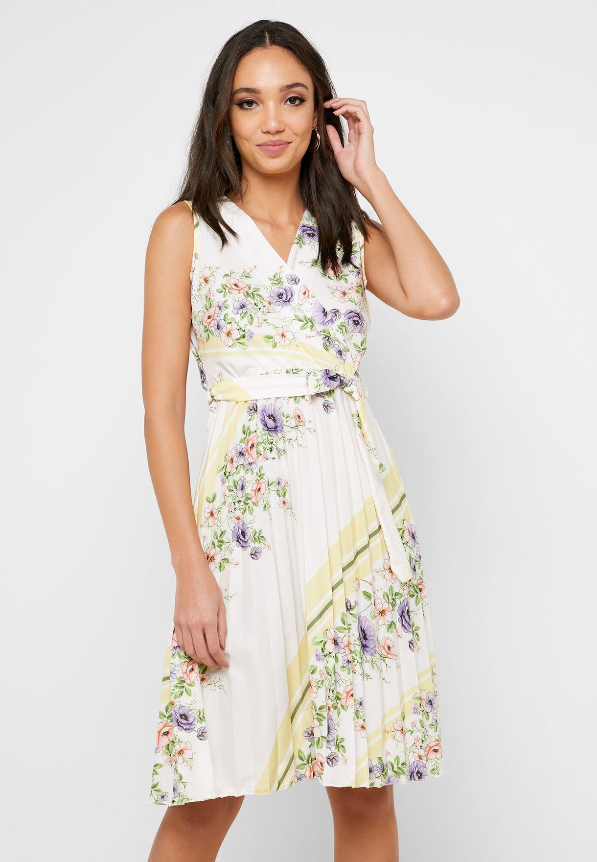 فستان ميدي لف بطبعات ازهار و كسرات