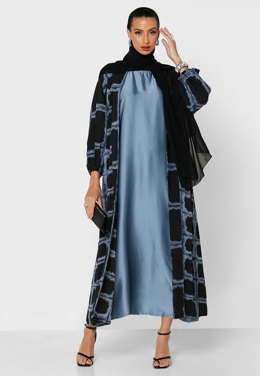 Longline Printed Abaya