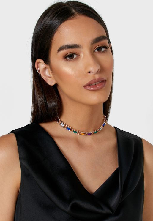 Multi-Coloured Stones and Diamante Choker