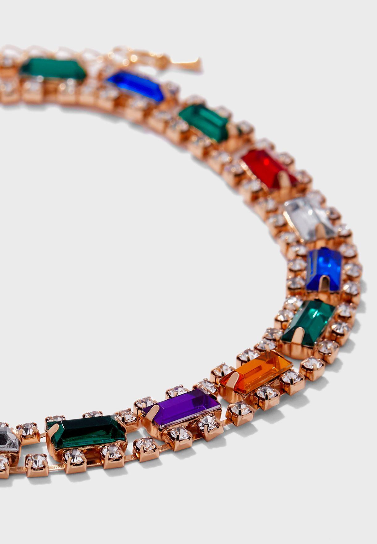 Multi-Coloured Stones and Diamante Choker
