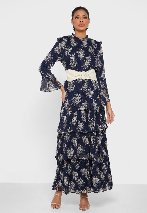 Belted Printed Tiered Dress