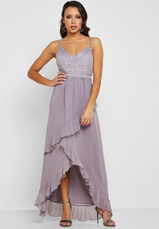 Ruffle Detail Lace Maxi Dress