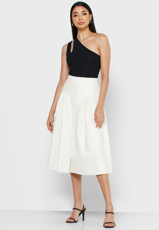 Pleated Button Down Skirt
