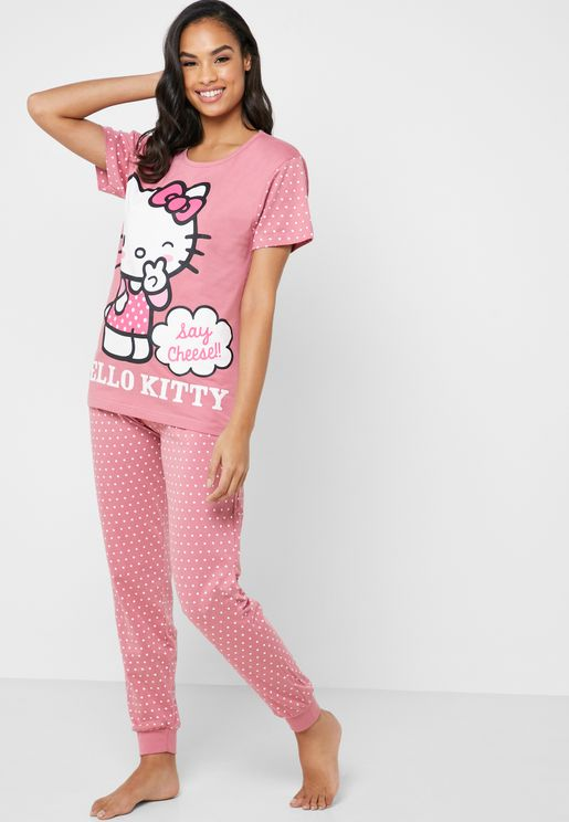 Printed Sleeve Logo T-Shirt & Pyjama Set