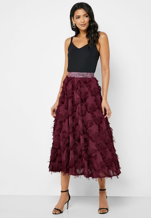 Star Fringed Detail Midi Skirt
