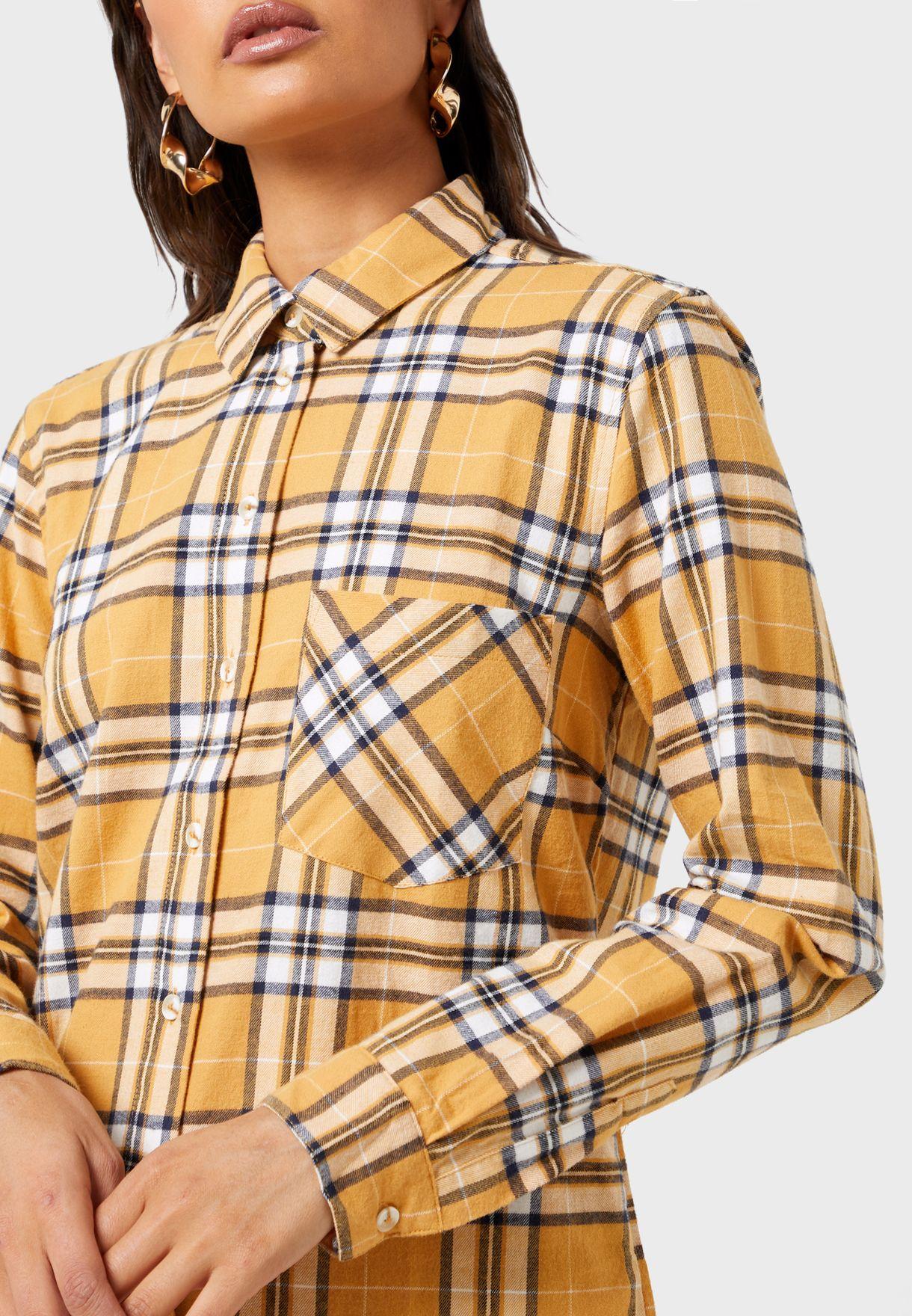 Pocket Detail Checked Shirt