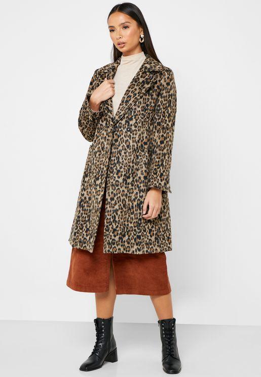 معطف طويل مطبع