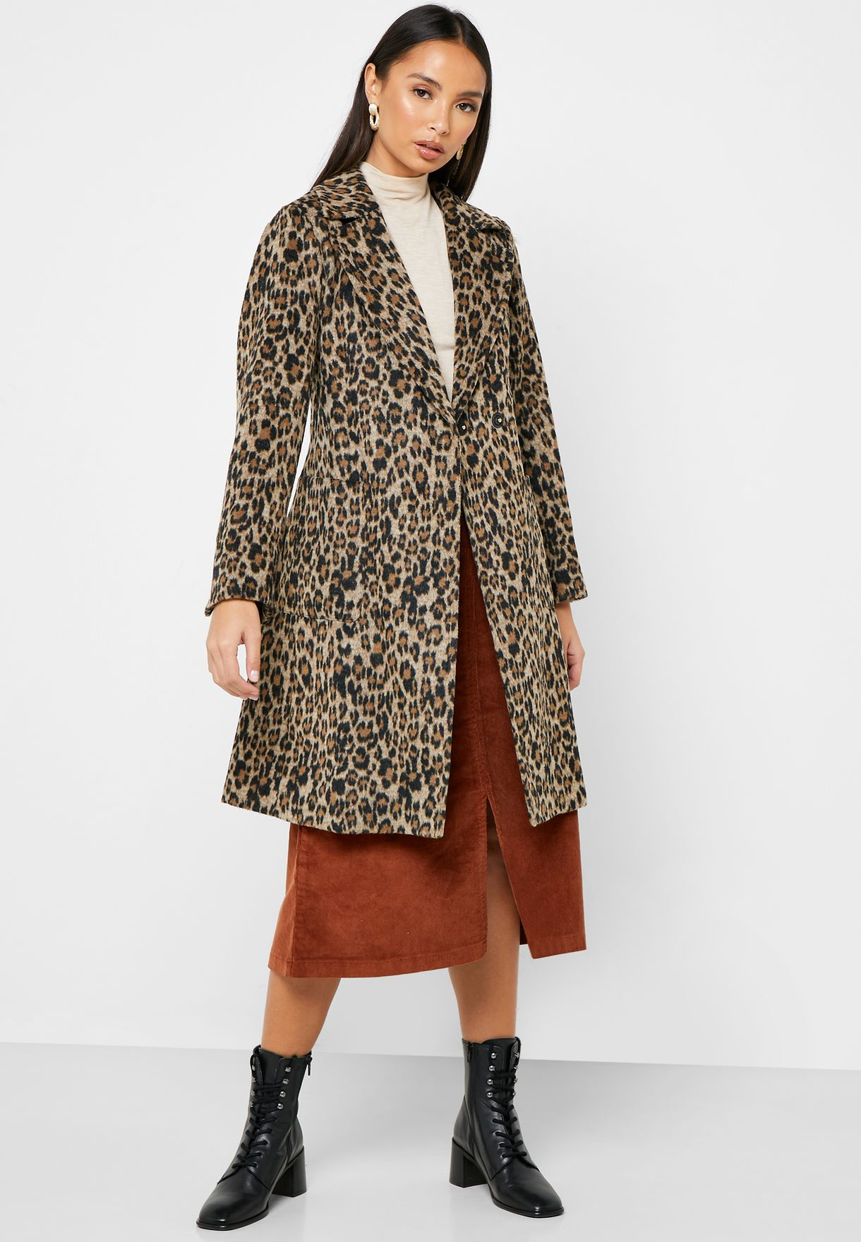 Animal Patch Longline Belted Wrap Coat