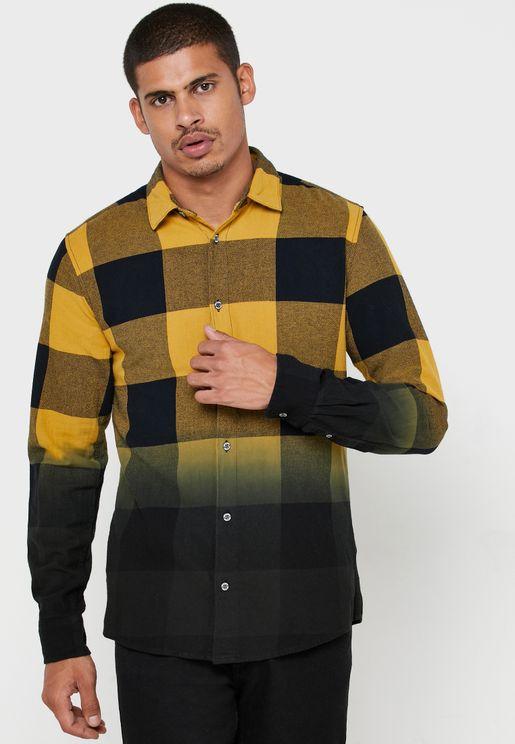 Dip Dye Checked Regular Fit Shirt