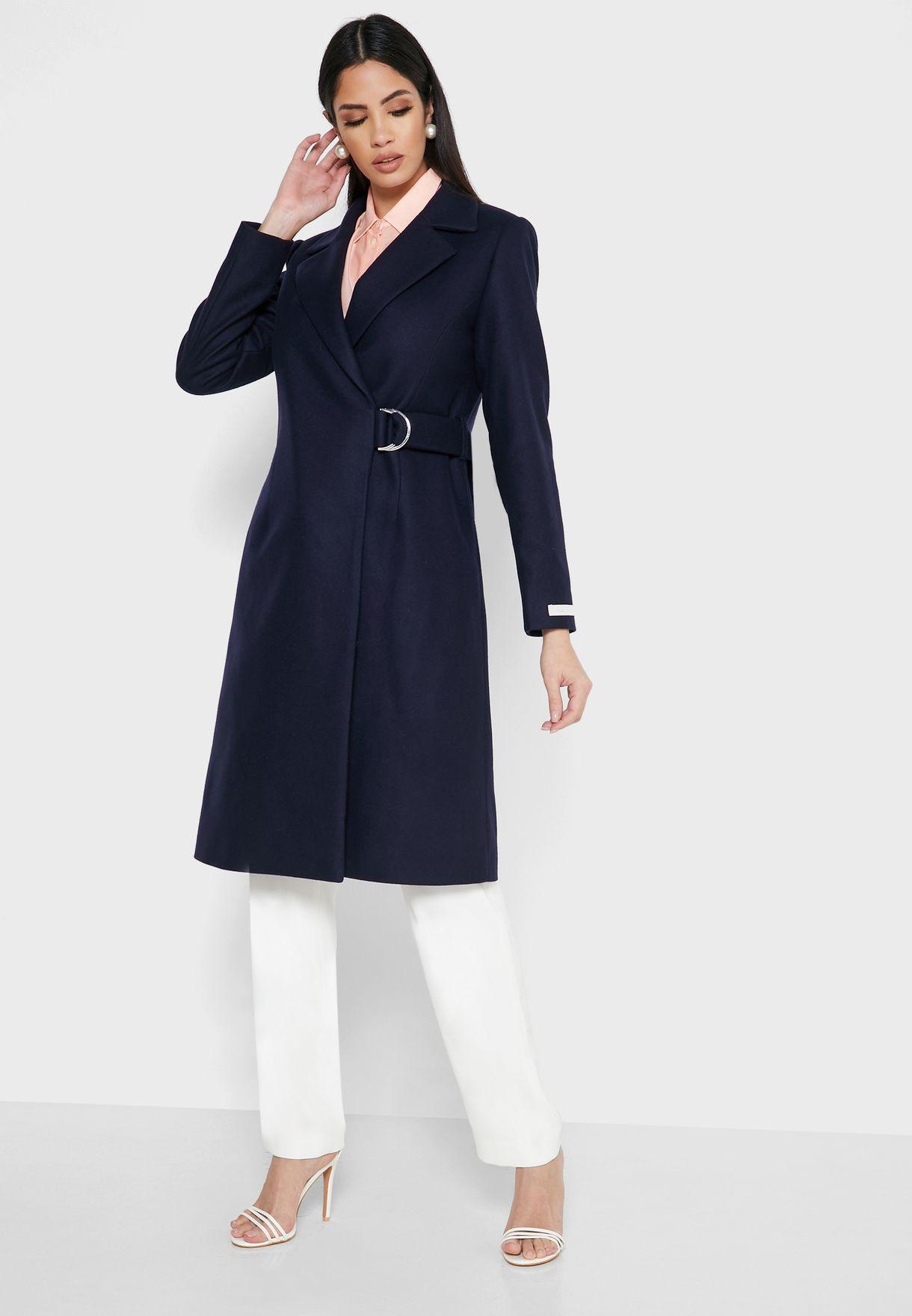 معطف لف بحزام ذو حلقة D