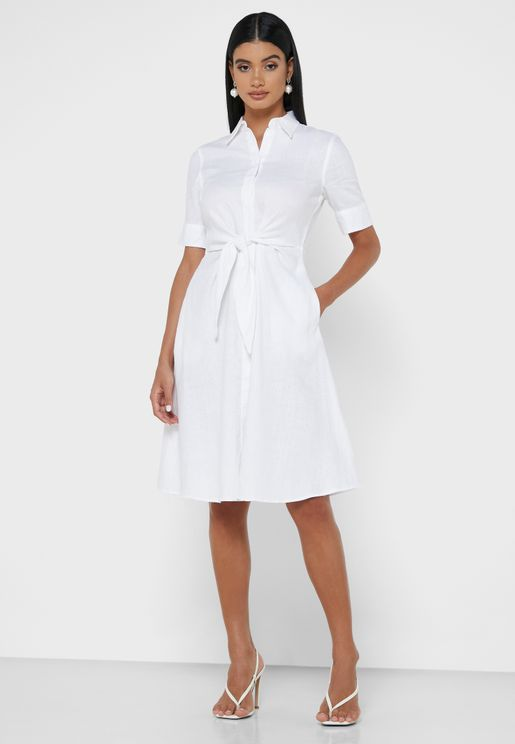 Wakana Tie Waist Shirt Dress