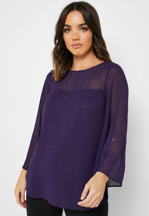 Sheer Wide Sleeve Top