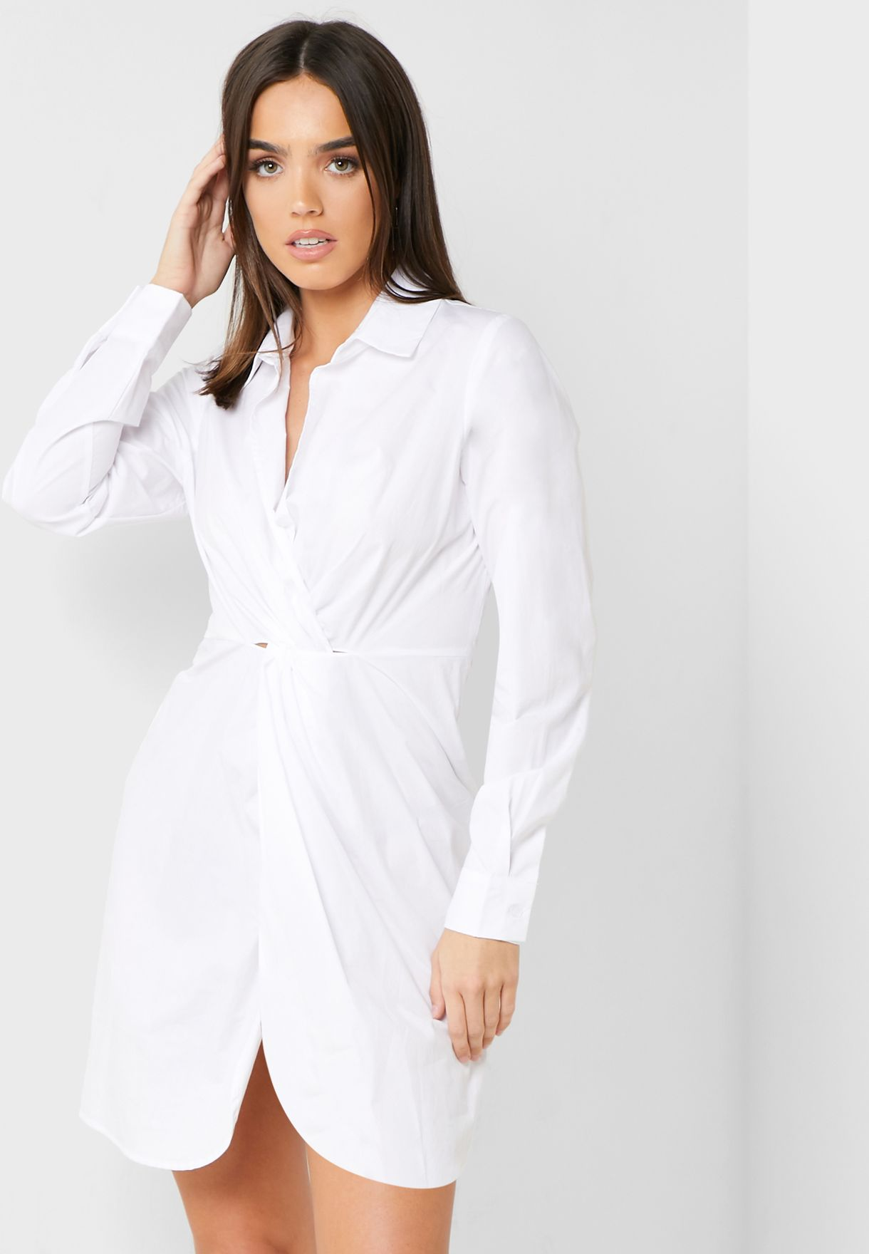 Front Twisted Shirt Dress