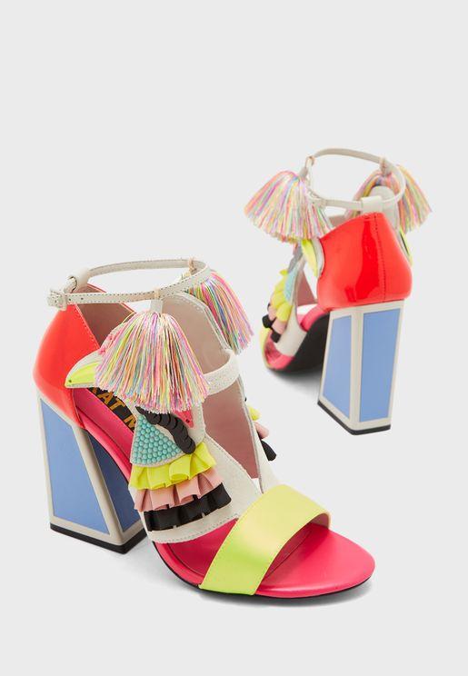 Aya Ankle Strap Block Heel Sandal