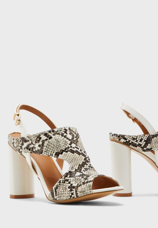 Slingback Cylindrical Heel Sandal
