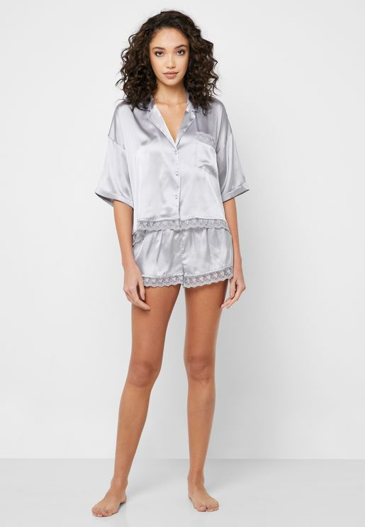 Lace Detail Shirt & Shorts Set