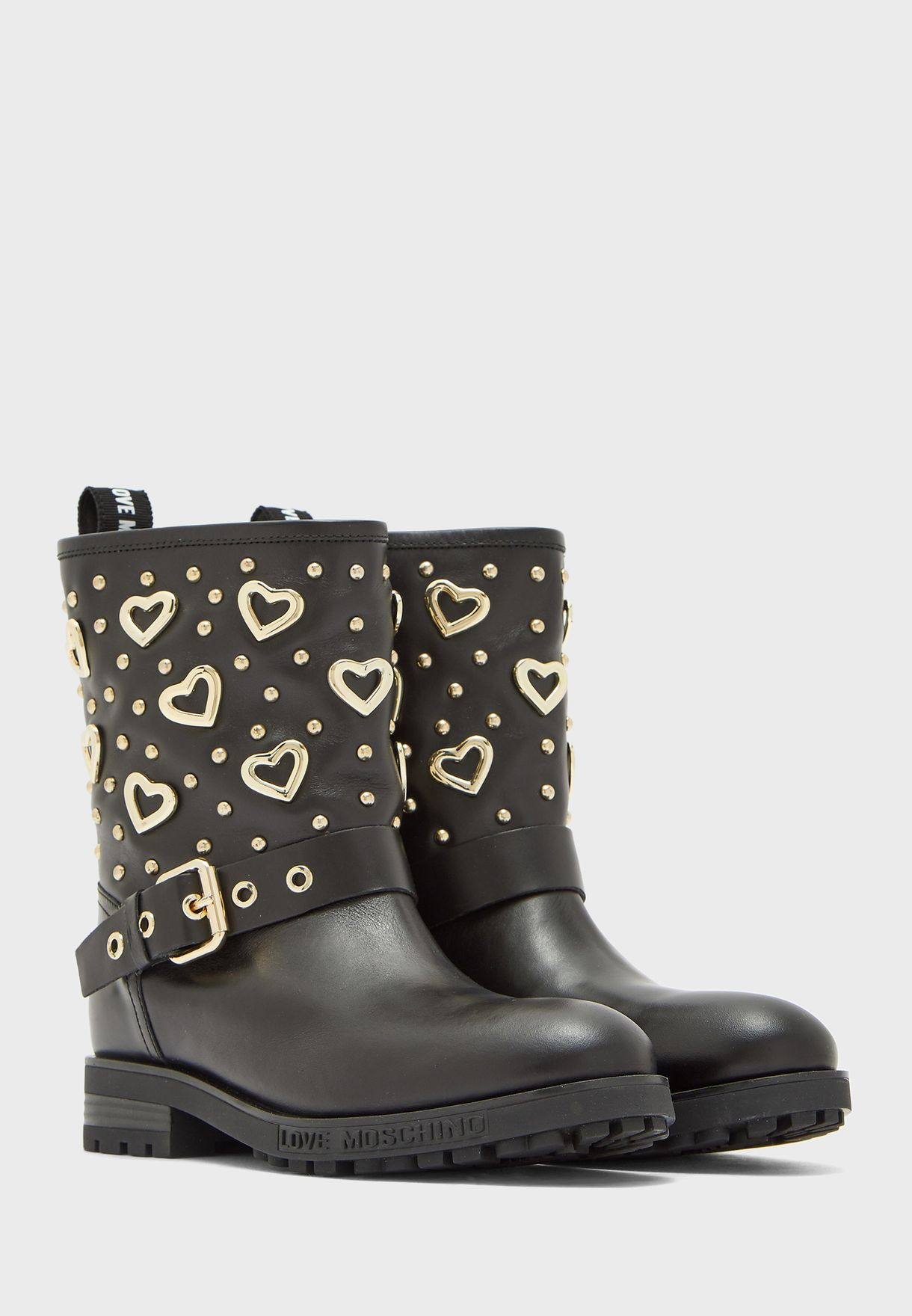 Buckled Detail Mid Heel Ankle Boot