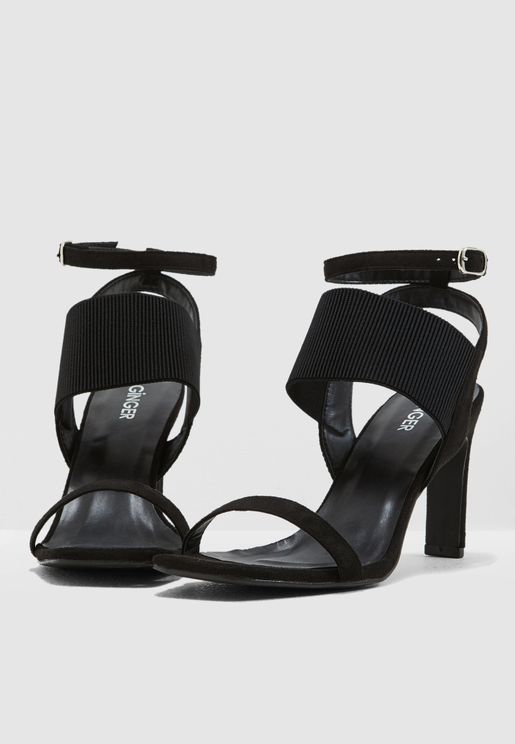 bb11d33b0cb Elastic Barely There Sandal With Heel Detail