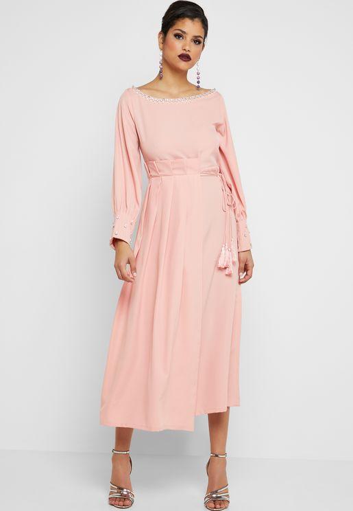 Tassel Detail Pleated Waist Dress