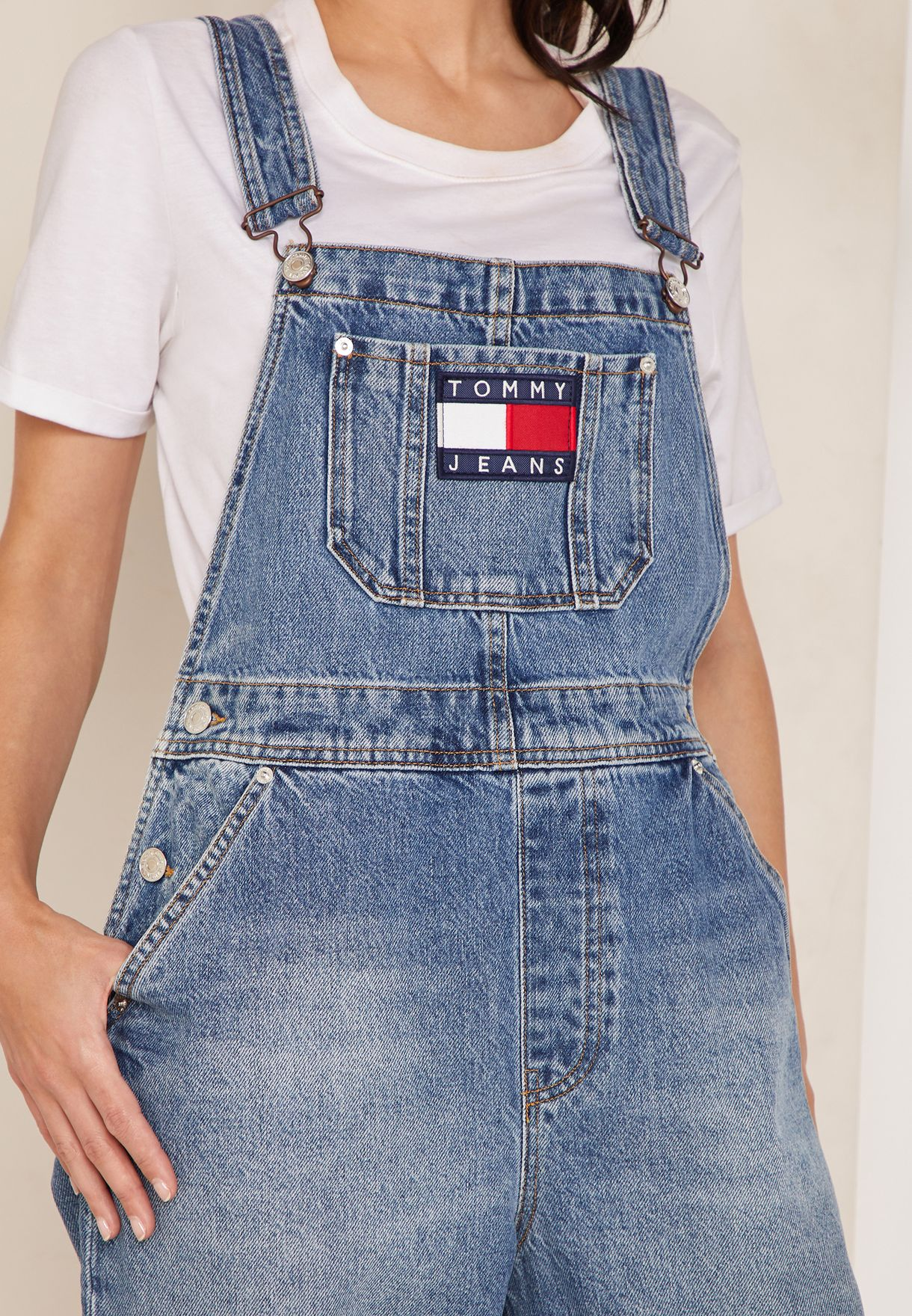 5700111a1a Shop Tommy Jeans blue Denim Dungaree DW0DW05861 for Women in UAE ...