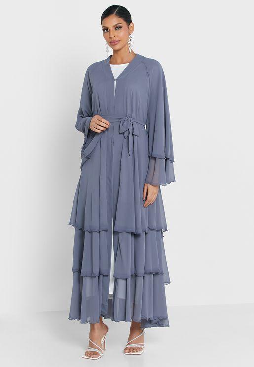 Ruffle Layered Abaya