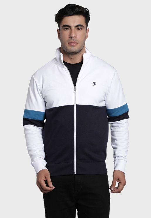 Color Block Zip Through Sweatshirt