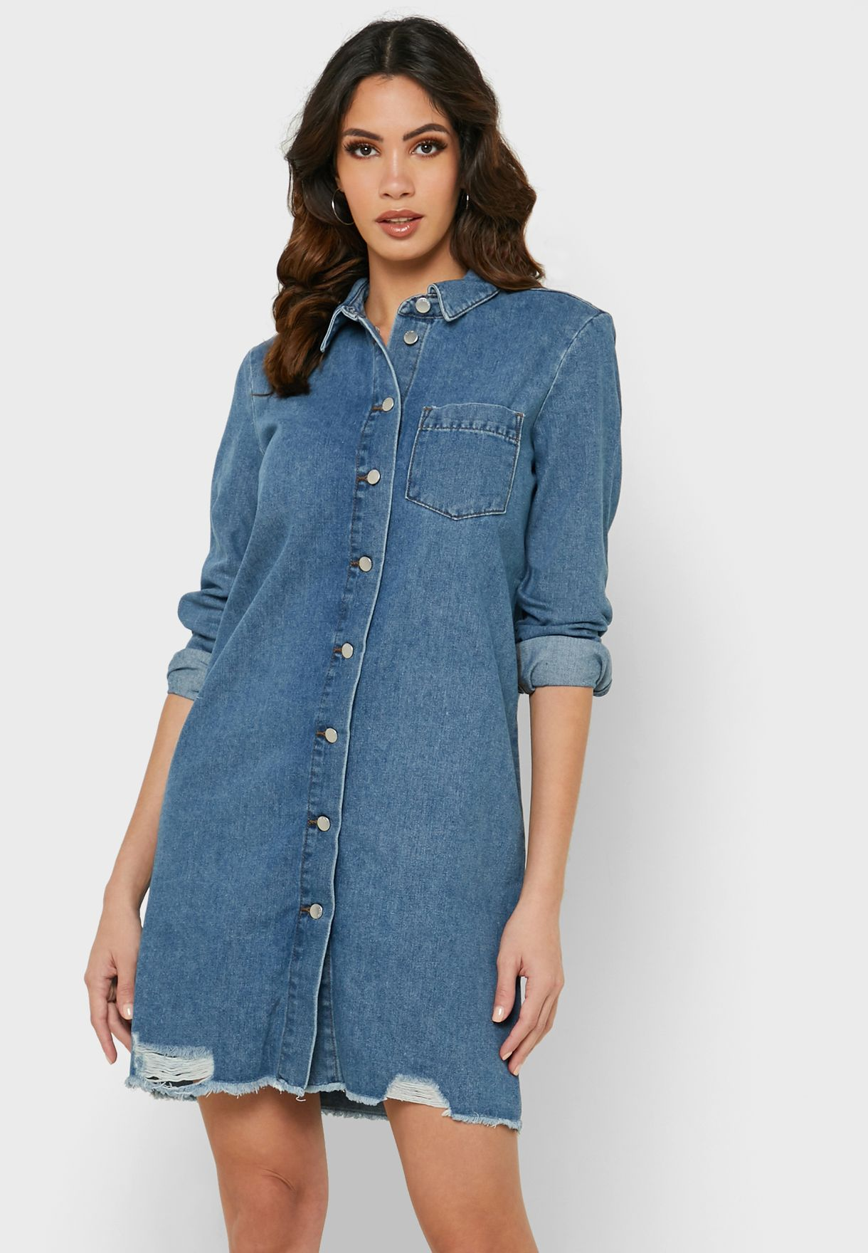 Raw Hem Denim Shirt Dress