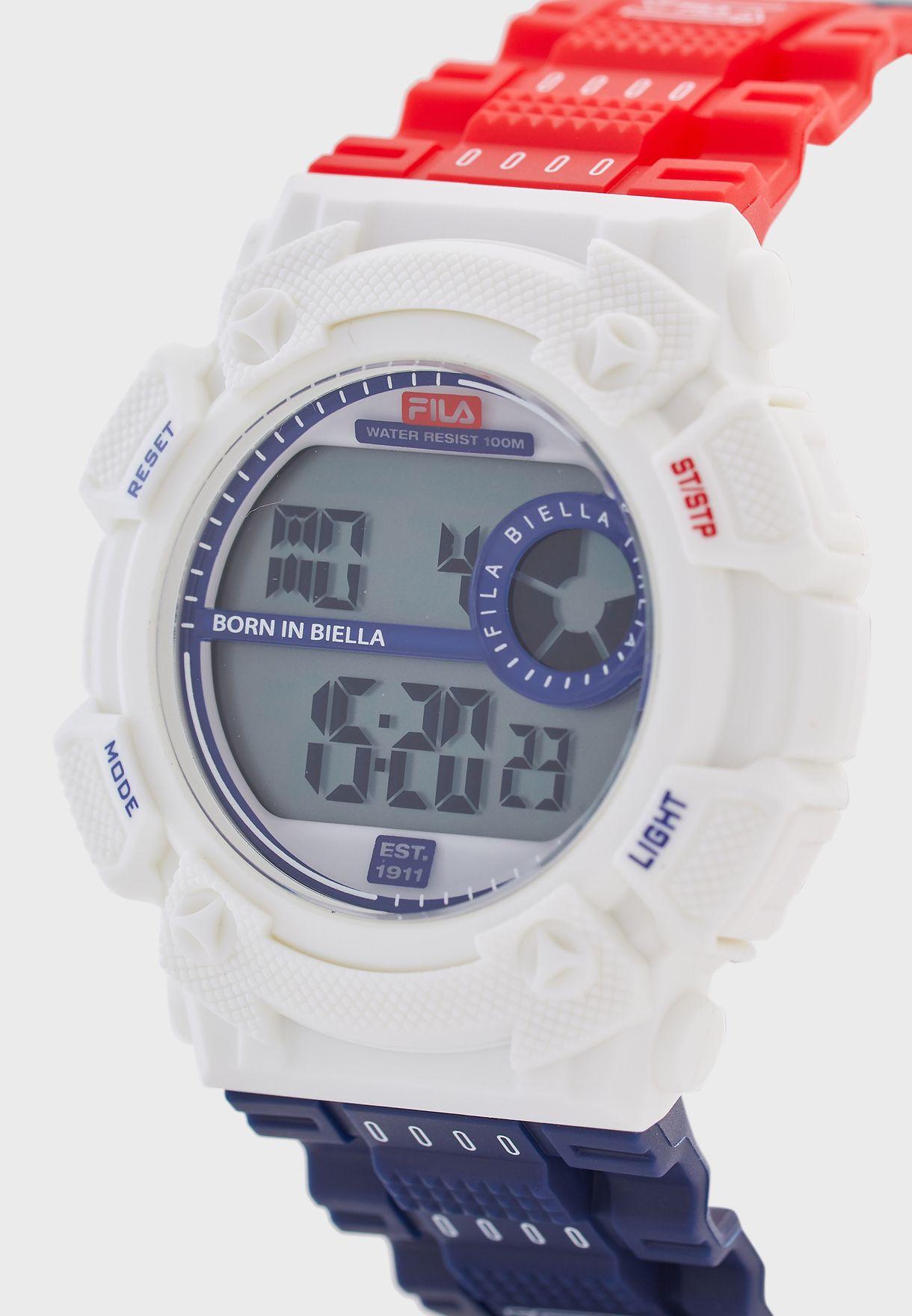 ساعة بنمط كتل الالوان