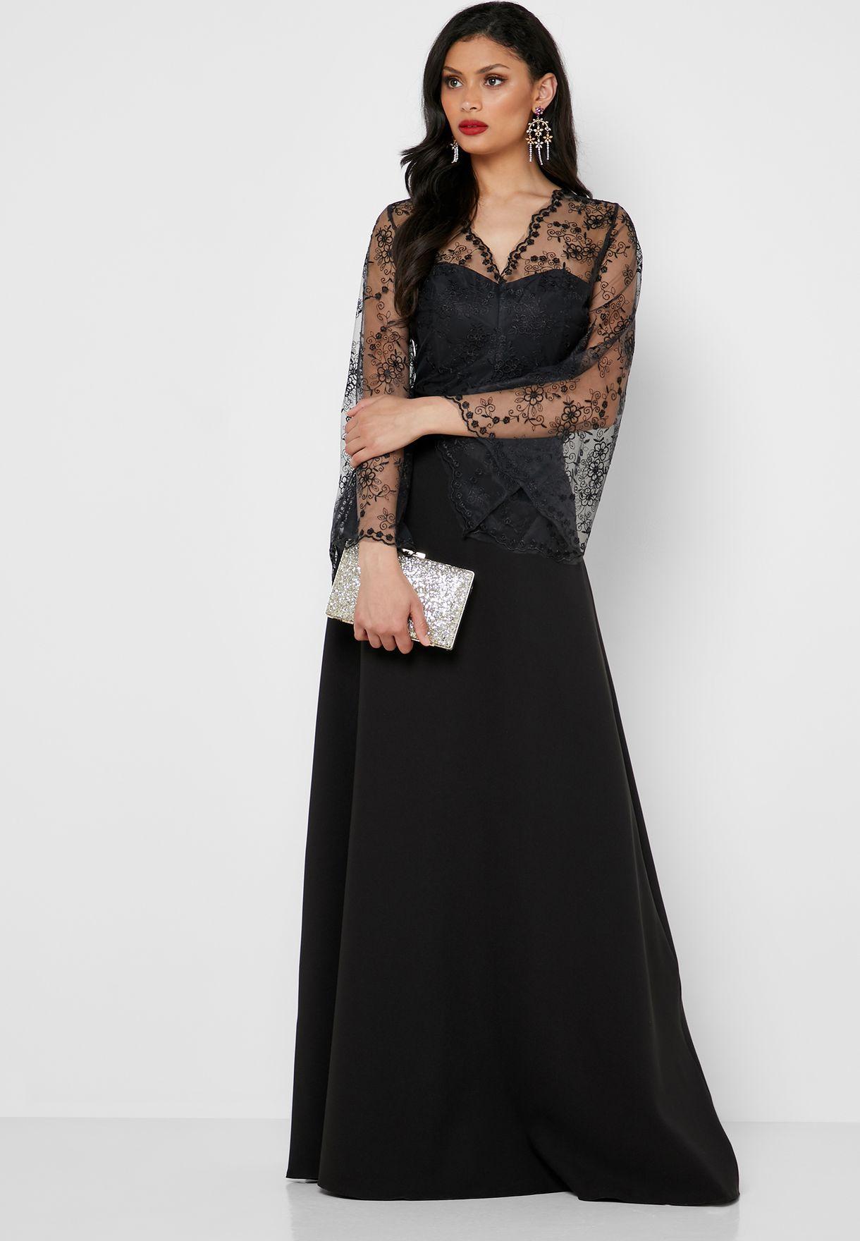فستان مكسي بأكمام واسعة