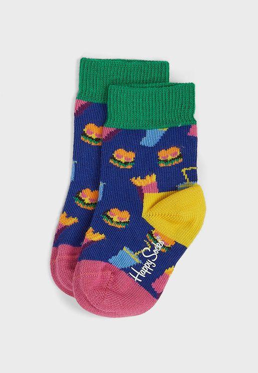 Kids Hamburger Print Socks