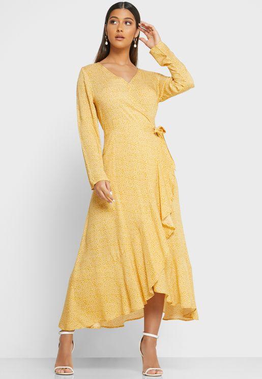 Wrap Front Maxi Dress