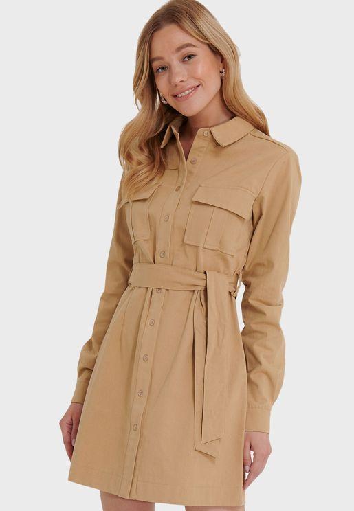 Tie Strap Button Down Mini Shirt Dress