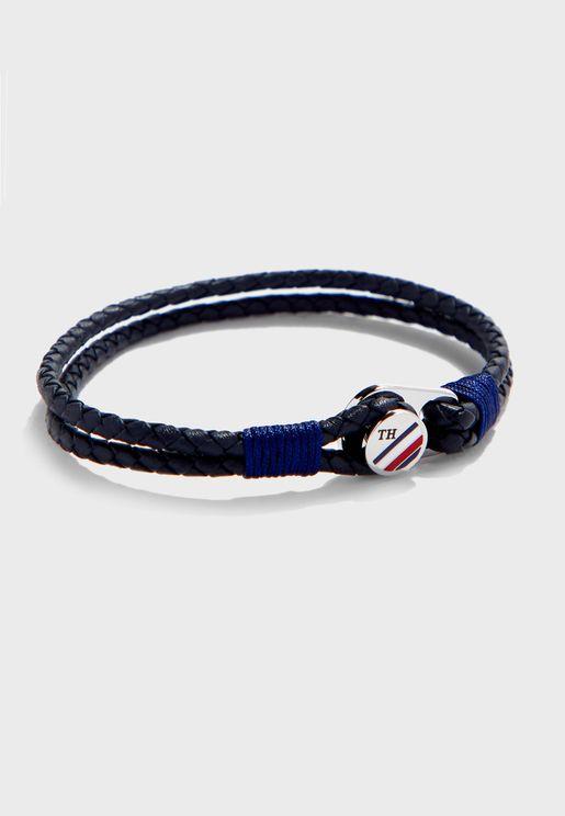 Braided Button Detail Bracelet