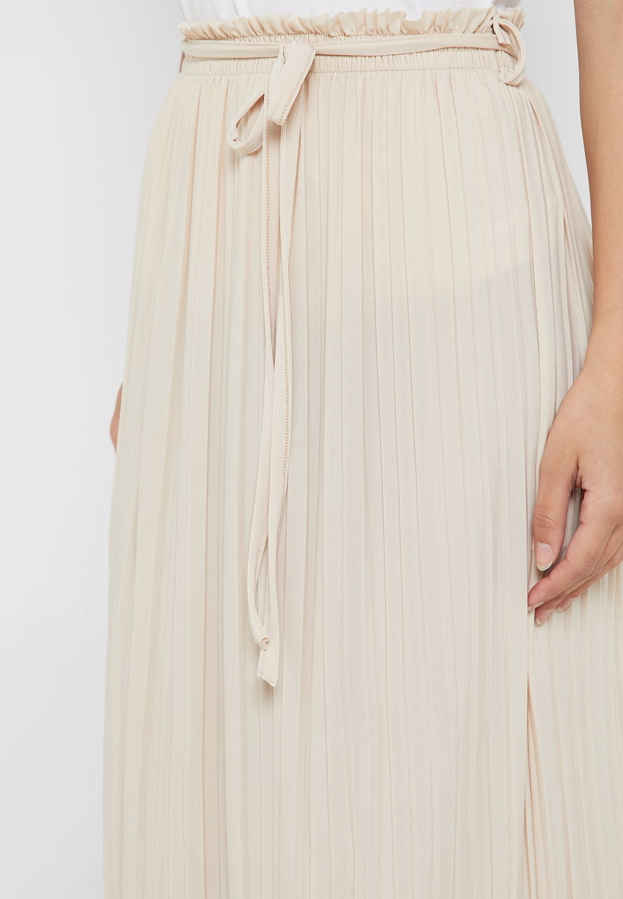 Pleated Self Tie Maxi Skirt