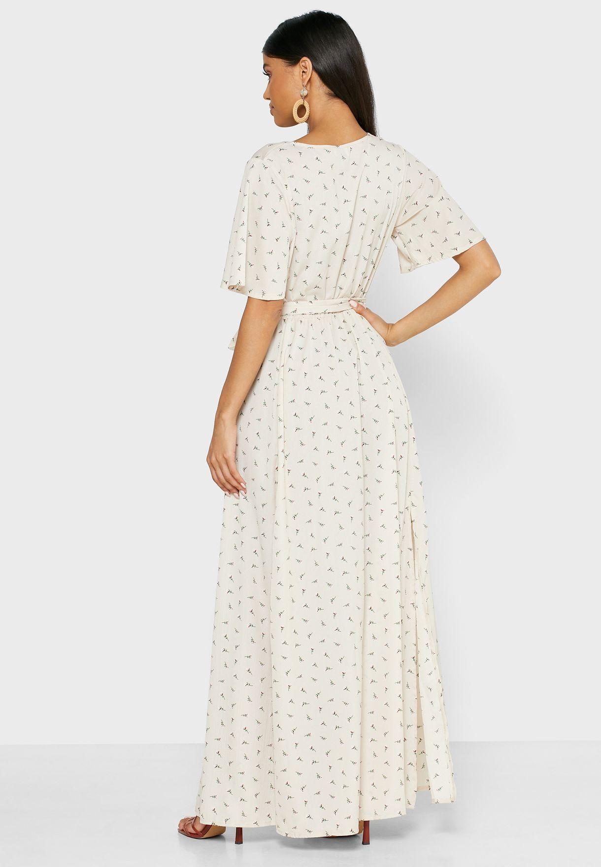 فستان مكسي بنمط لف