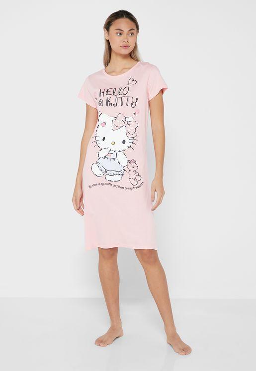 Hello Kitty Round Neck Midi Nightdress