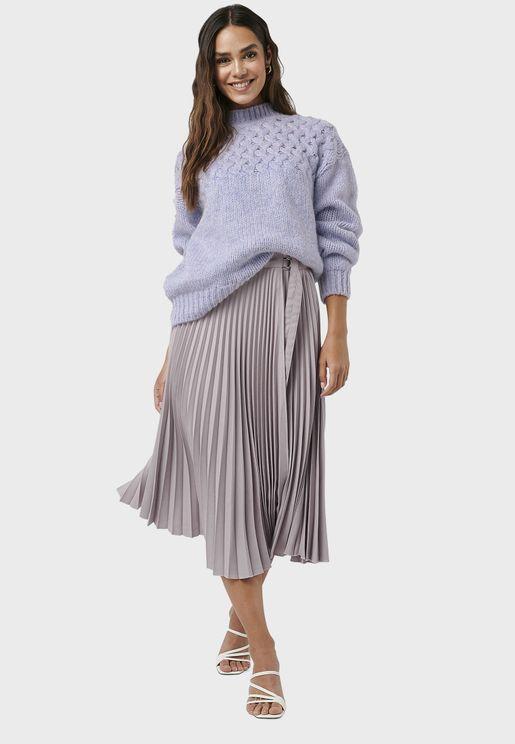 Side Tie Pleated Skirt