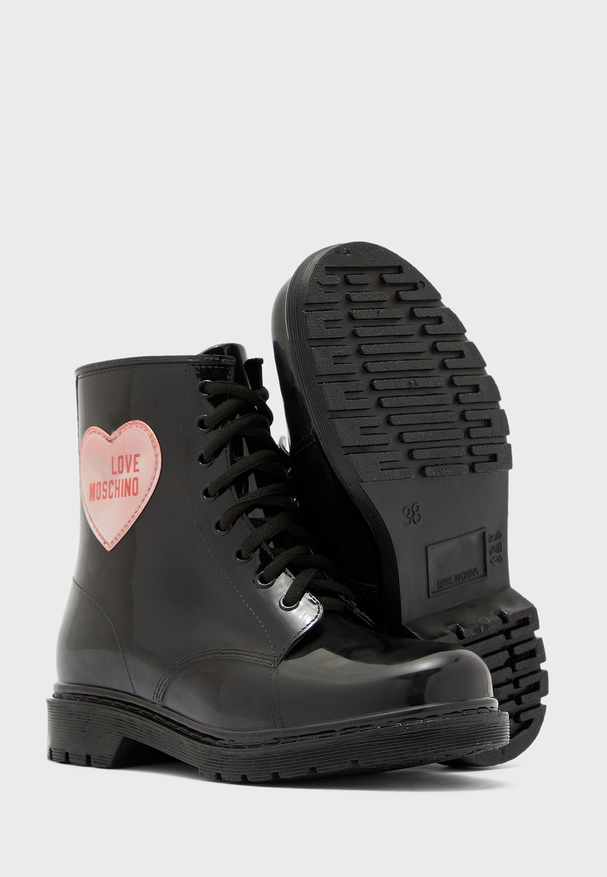 Logo Low Heel Ankle Boot