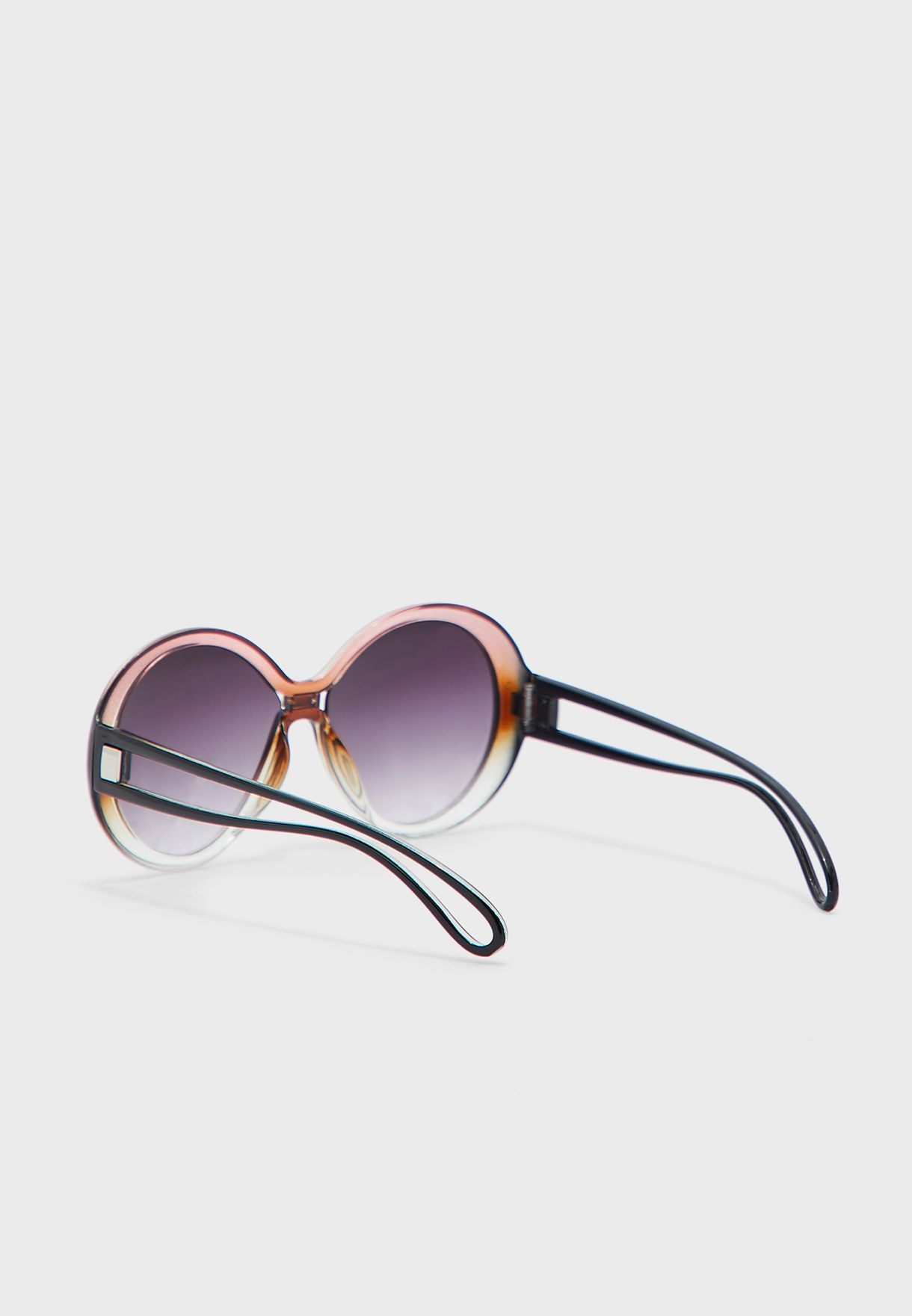 Round Two Tone Frame Sunglasses