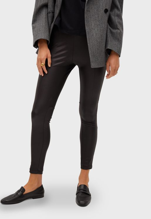 Seam Detail PU Leggings