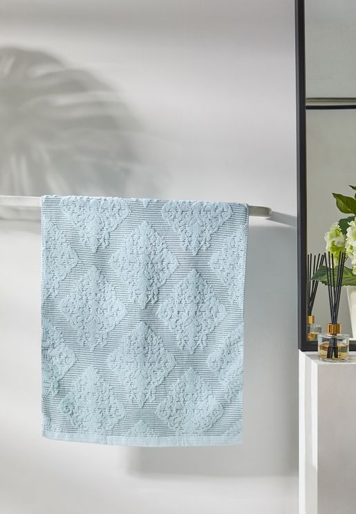 Blue Patterned Hand Towel