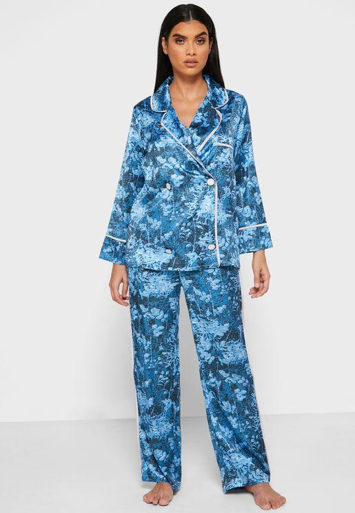 Printed Double Breasted Pyjama Set