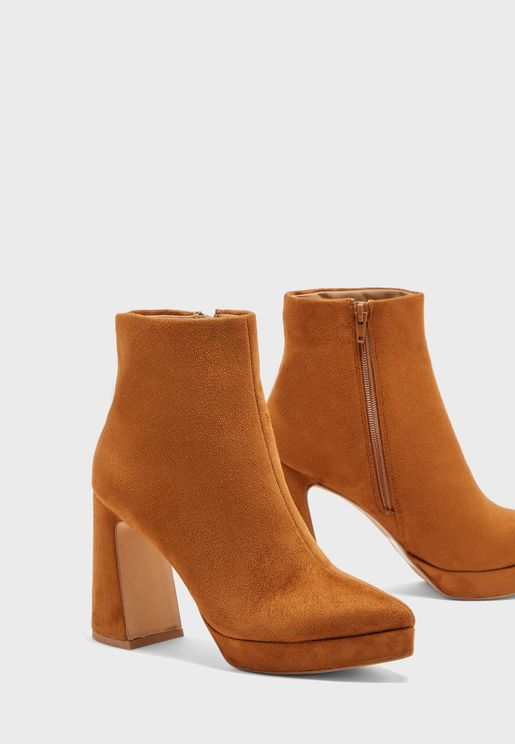 Pointed Toe Platform Faux Suede Ankle Boot