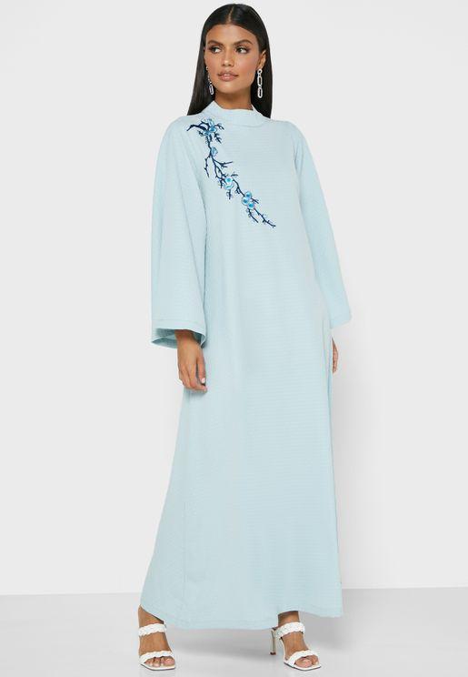 High Neck Wide Sleeve Dress