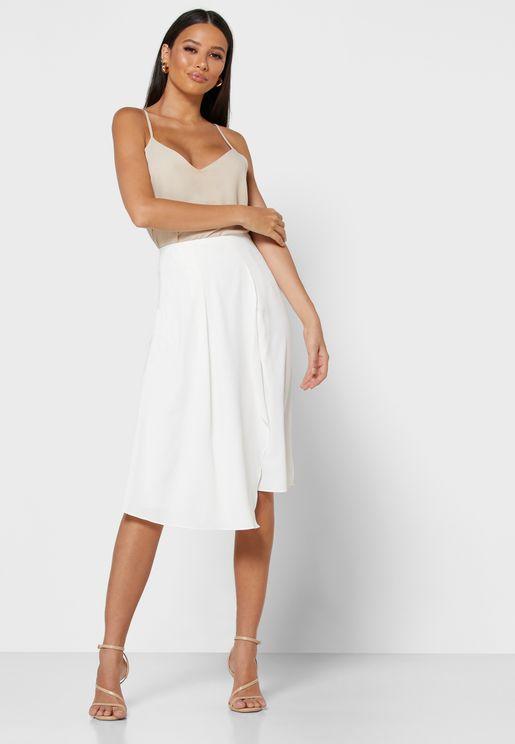 Box Pleat Detail Midi Skirt